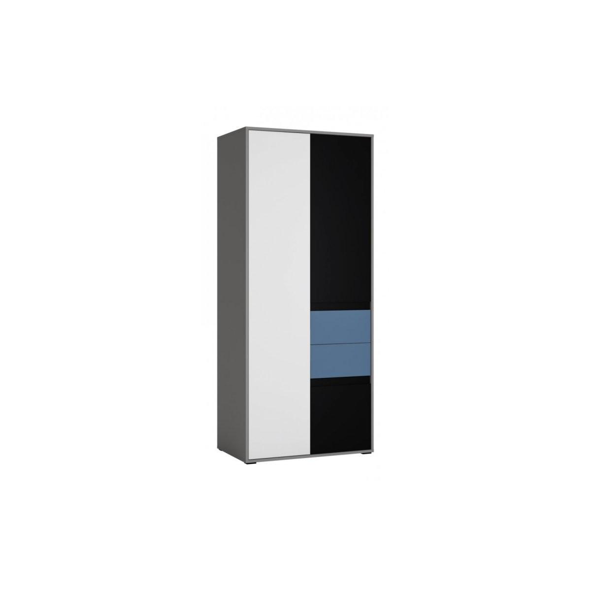 Szafa do pokoju młodzieżowego szary platynowy, czarna perła / biała alpejska Laser LASS01 Meble Wójcik