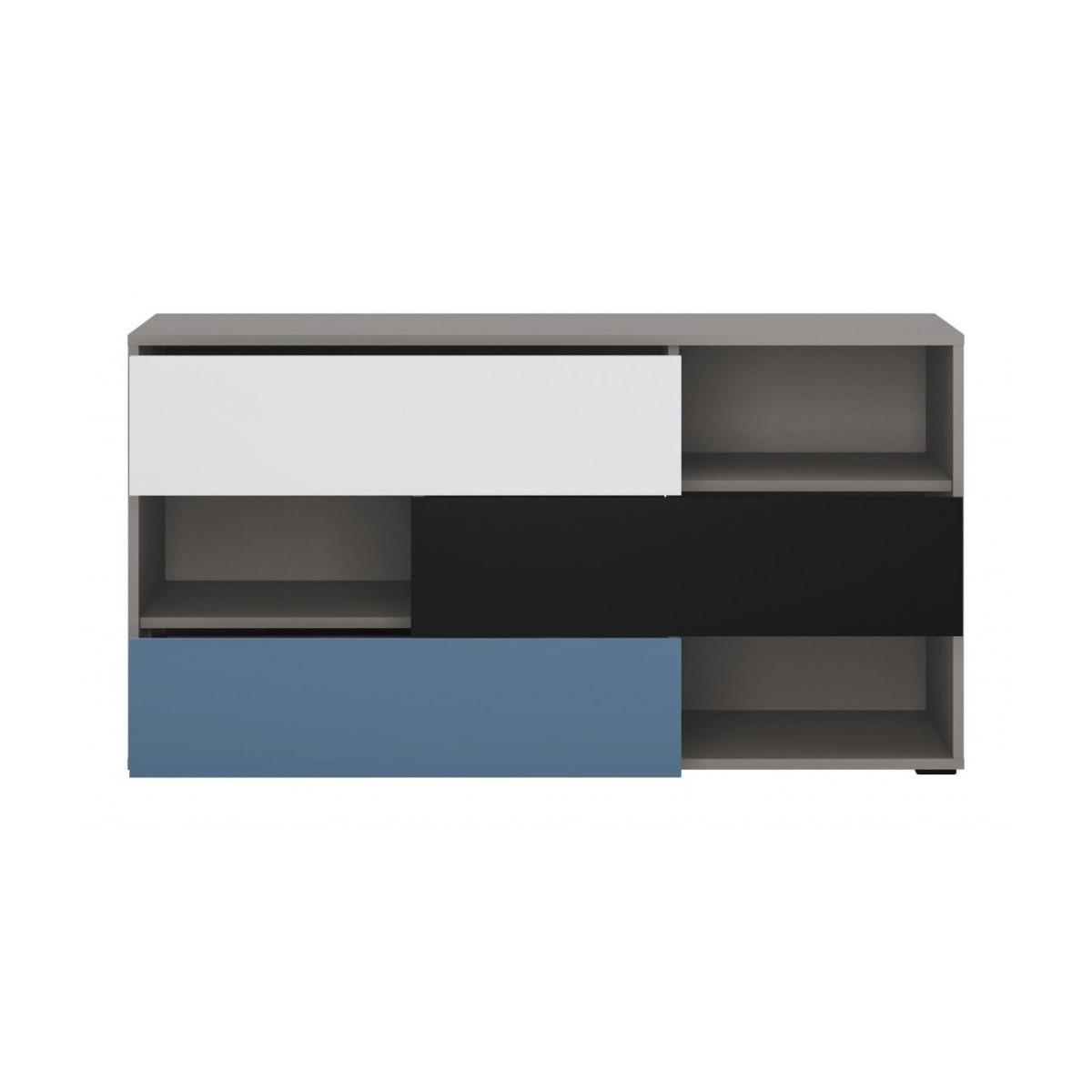 Komoda do pokoju młodzieżowego szary platynowy, czarna perła / biała alpejska Laser LASK01