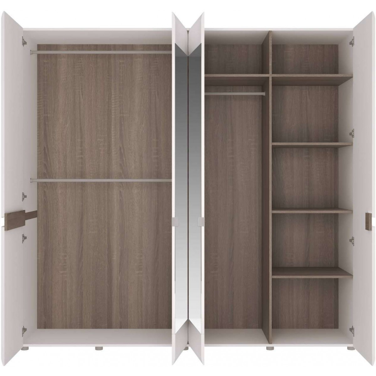 Szafa 4-drzwiowa do sypialni Biały połysk Linate typ 23