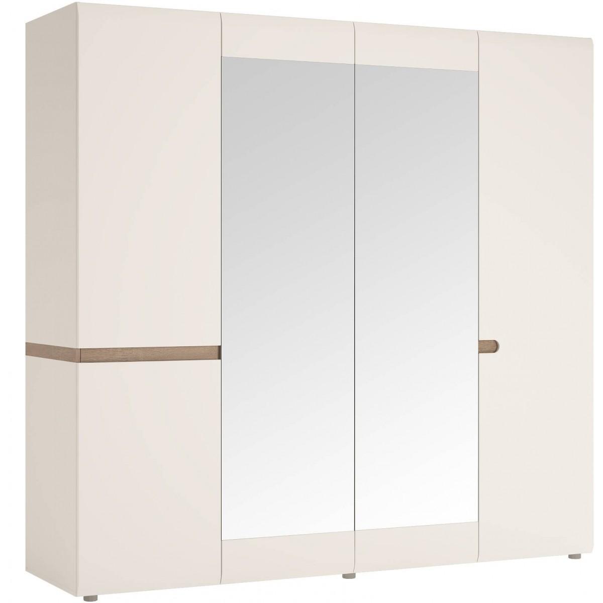 Szafa 4-drzwiowa do sypialni Biały połysk Linate typ 23 Meble Wójcik