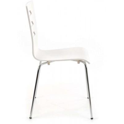 K155 białe krzesło sklejka gięta chrom Halmar