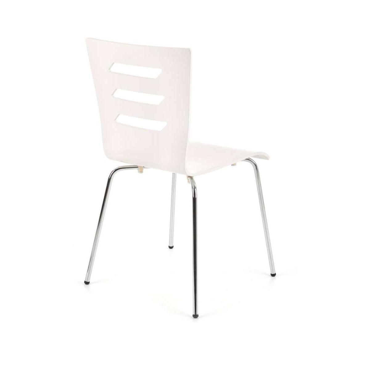 K155 białe krzesło sklejka gięta chrom