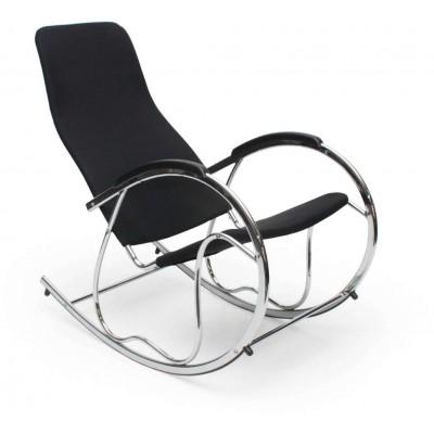 Ben 2 czarny chrom fotel bujany Halmar