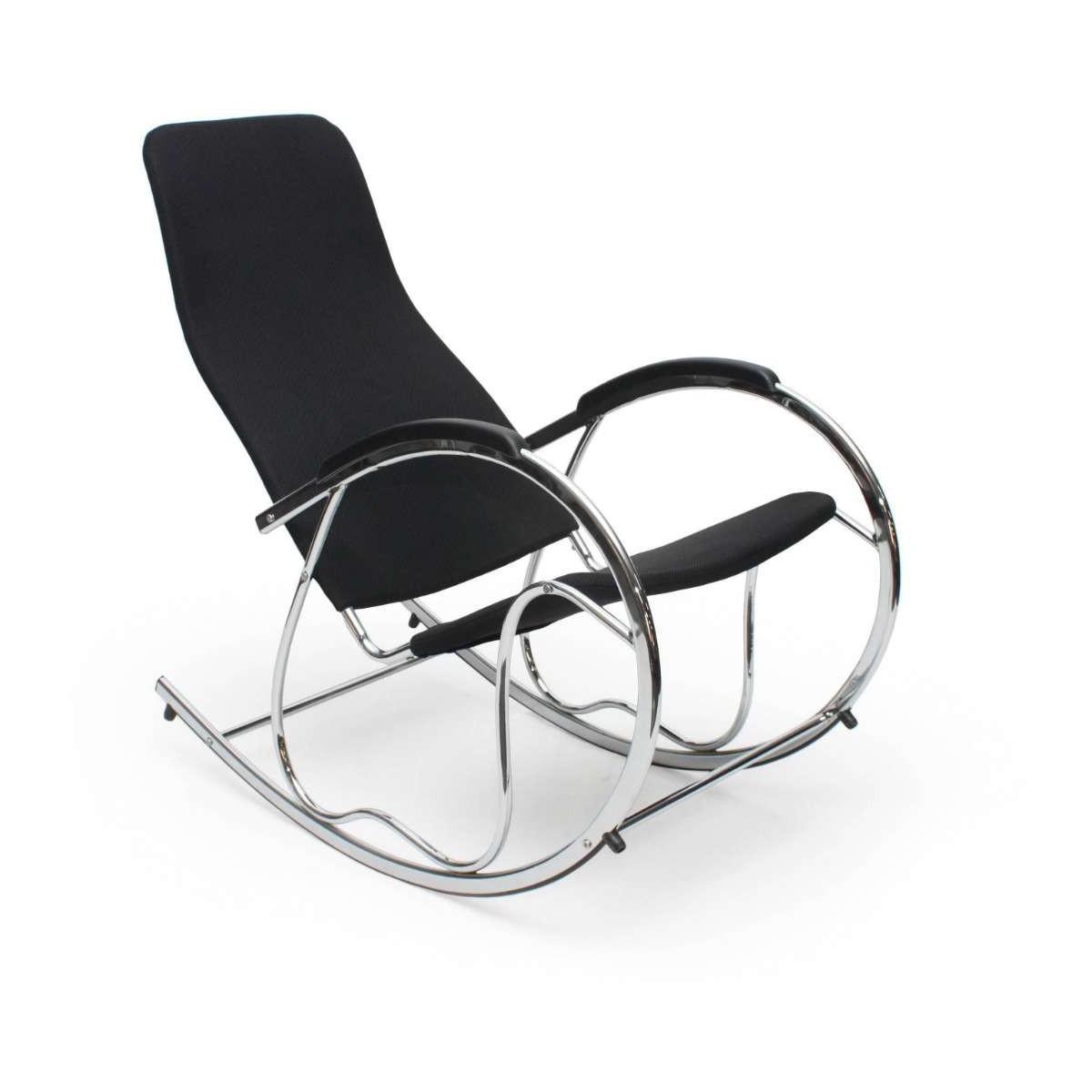 Ben 2 czarny chrom fotel bujany