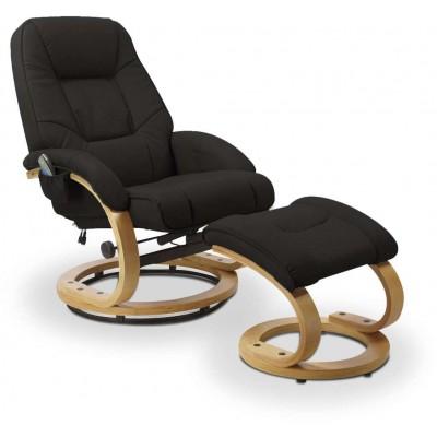 Matador czarny fotel rozkładany z funkcją masażu i podgrzewania Halmar