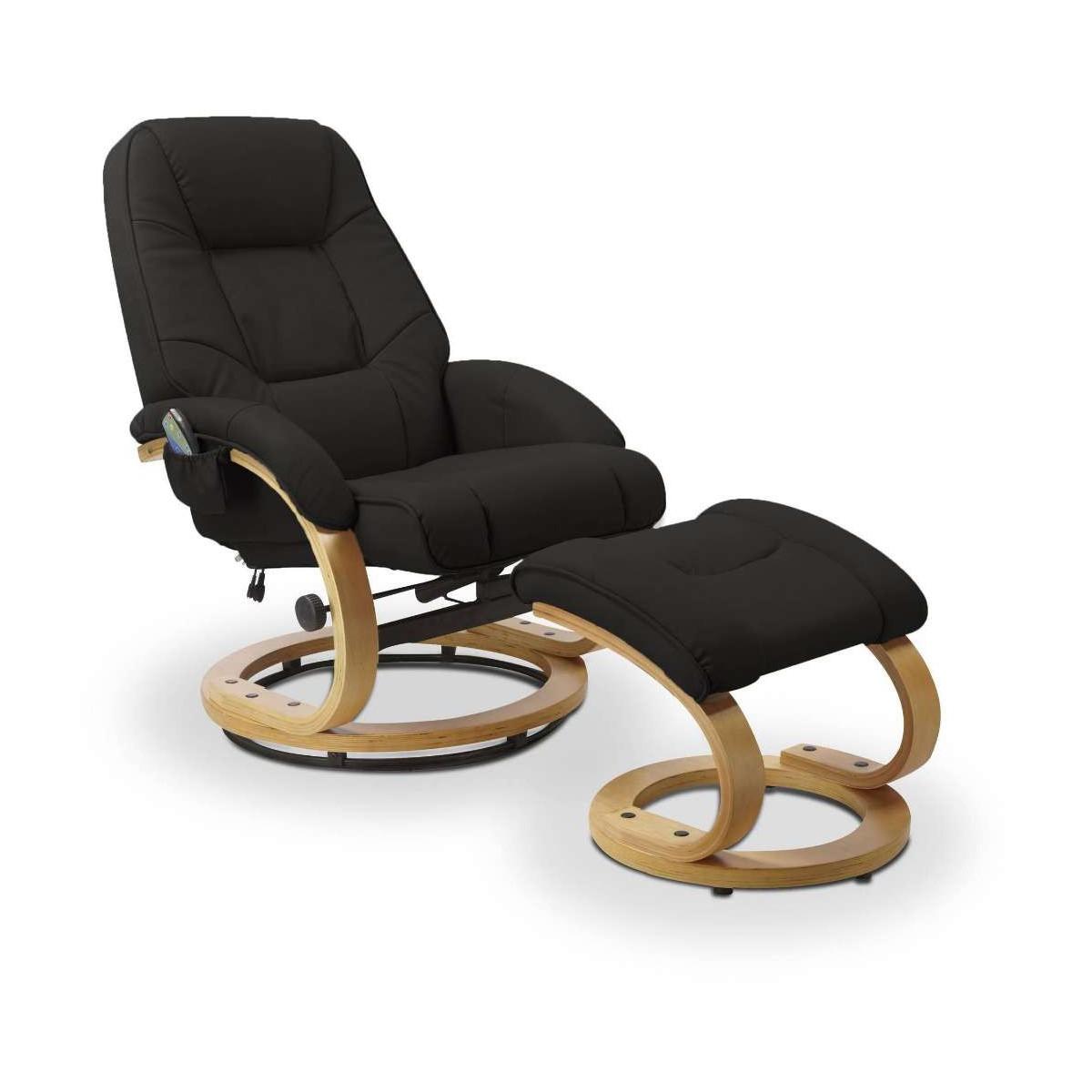 Matador czarny fotel rozkładany z funkcją masażu i podgrzewania