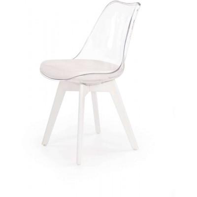 K245 krzesło białe z przezroczystym oparciem Halmar