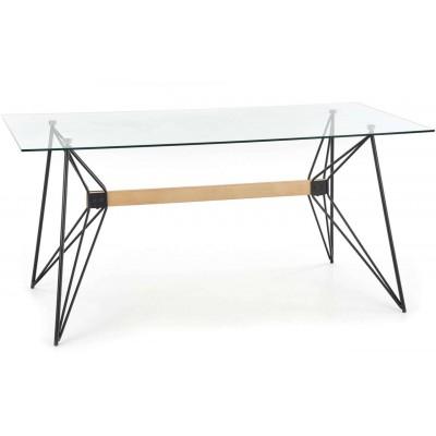 Allegro stół szklany nogi drewno czarna stal Halmar