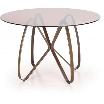 Lungo stół okrągły szklany złoty antyczny Halmar