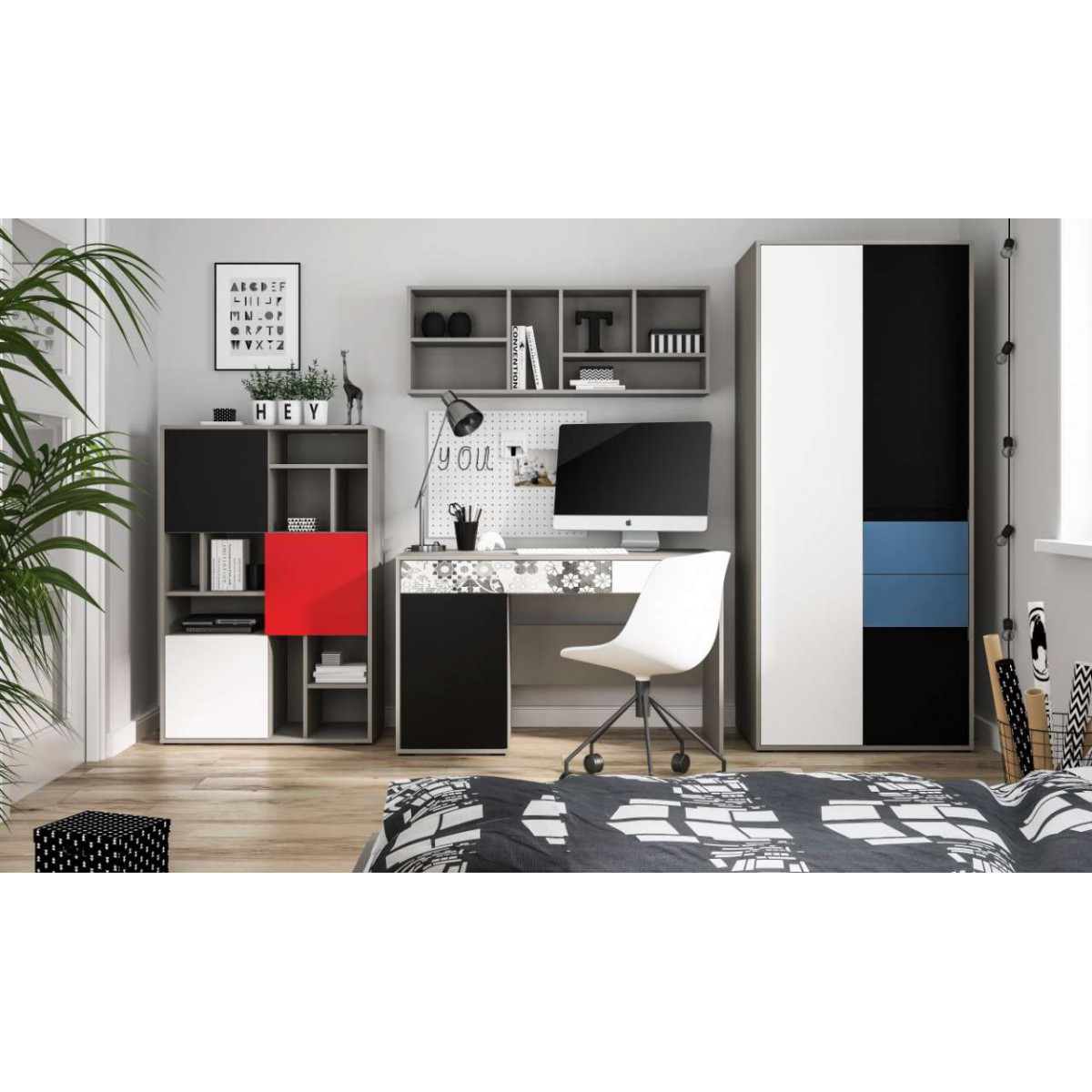 Biurko do pokoju młodzieżowego szary platynowy, czarna perła / biała alpejska Laser LASB01B