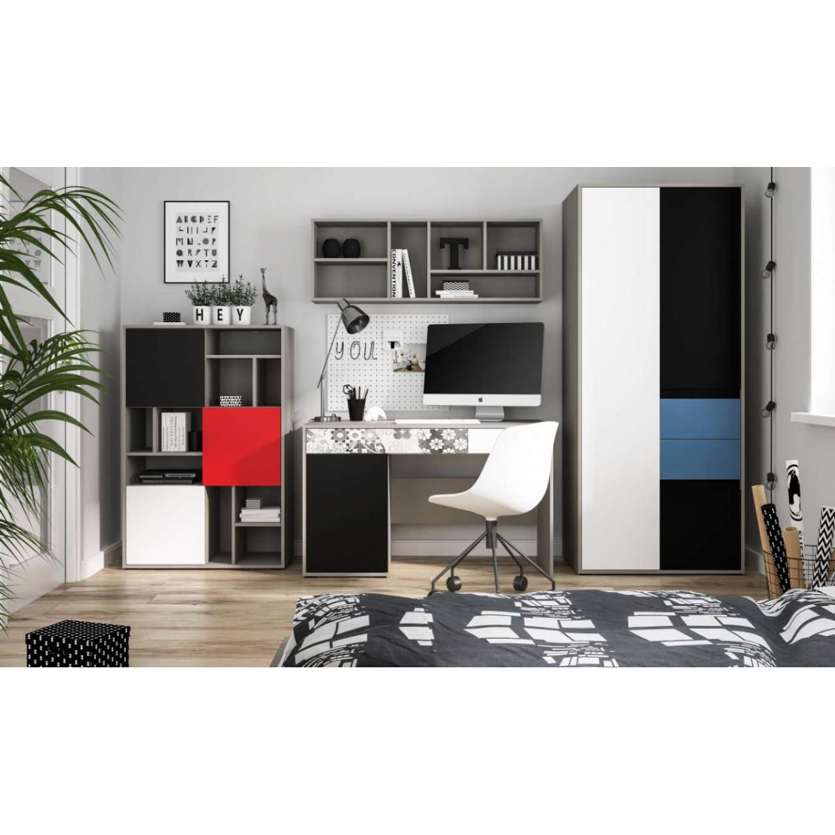 Biurko do pokoju młodzieżowego szary platynowy, czarna perła / biała alpejska Laser LASB01