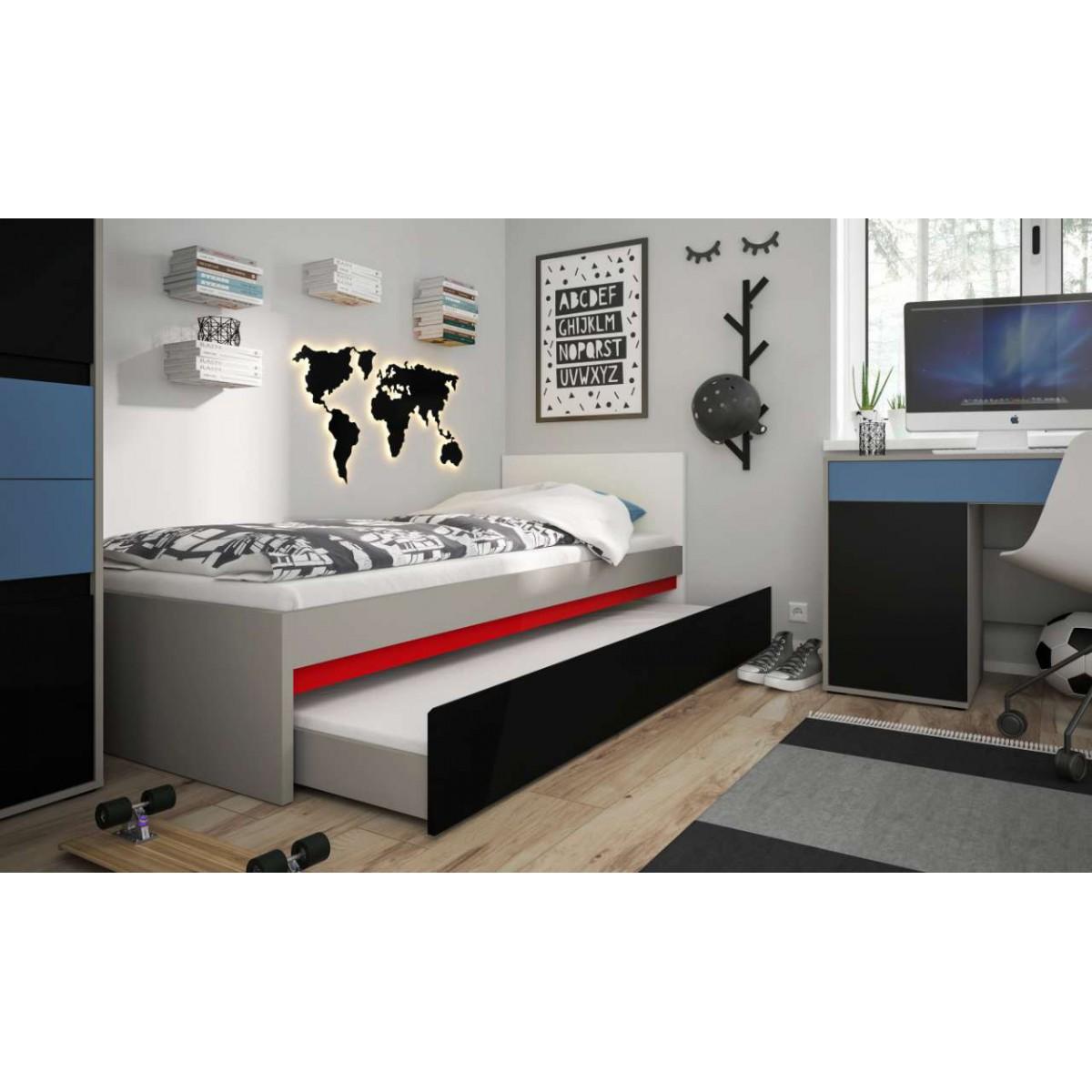 Łóżko do pokoju młodzieżowego szary platynowy, czarna perła / biała alpejska Laser 90cm LASZ01B