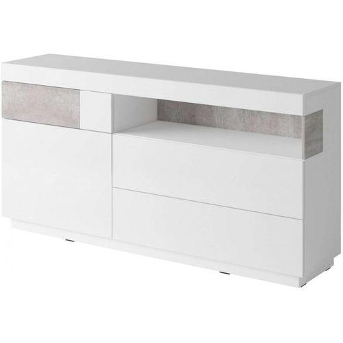 Silke Komoda 47 biały połysk / beton Helvetia Wieruszów