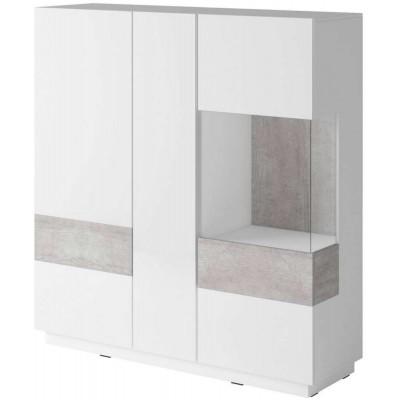 Silke Wysoka komoda Typ 46 biały połysk / beton