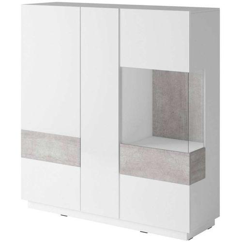 Silke Wysoka komoda 46 biały połysk / beton Helvetia Wieruszów