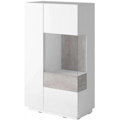 Silke Wysoka komoda prawa Typ 44 biały połysk / beton