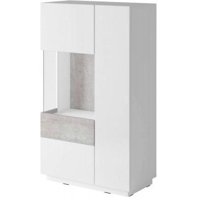 Silke Wysoka komoda lewa Typ 42 biały połysk / beton