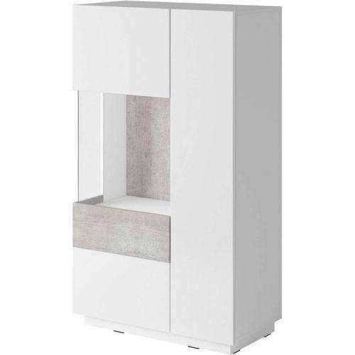 Silke Wysoka komoda lewa 42 biały połysk / beton Helvetia Wieruszów