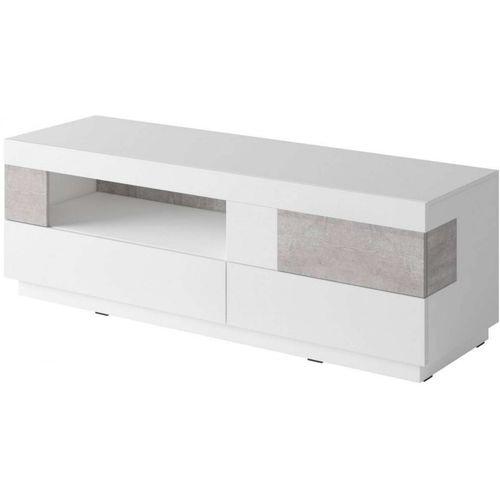 Silke komoda TV 41 biały połysk / beton Helvetia Wieruszów