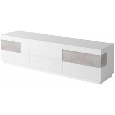 Silke TV komoda duża 6 szufl 40 biały połysk / beton Helvetia Wieruszów