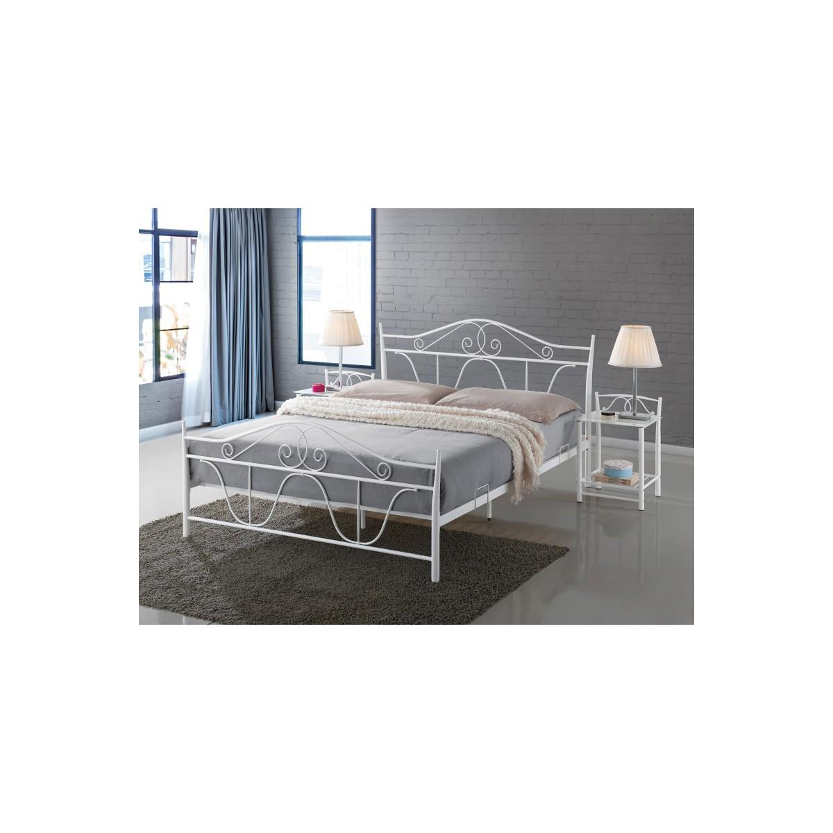 Łóżko Denver 160 metalowe białe Signal