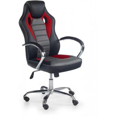 Scroll fotel biurowy czarny / czerwony / popielaty Halmar