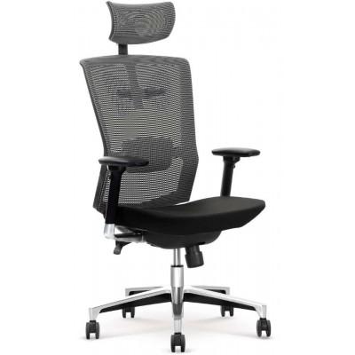 Ambasador fotel biurowy popielato / czarny Halmar