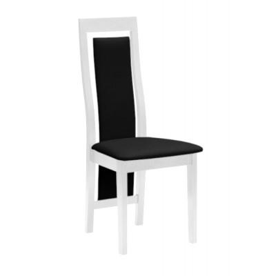 Krzesło do salonu bukowe biały połysk ekoskóra KANSAS Promocja