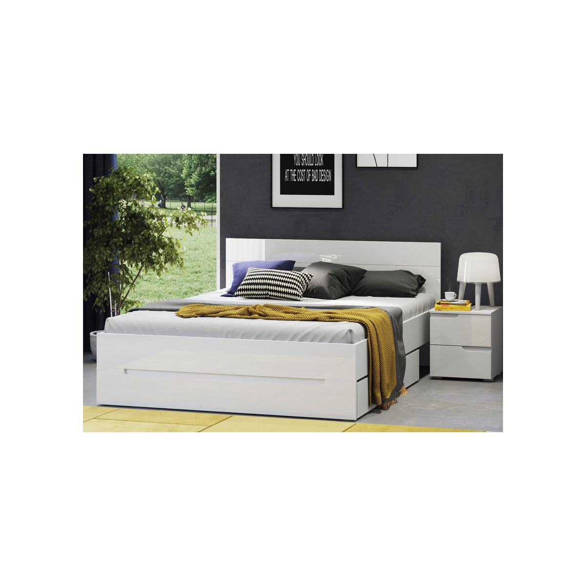 Łóżko 160 cm Selene biały połysk Typ 33