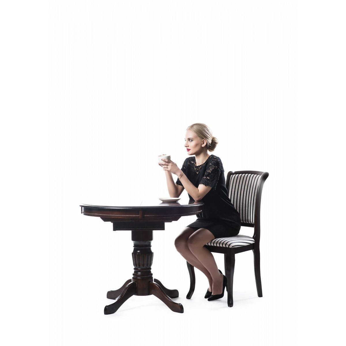 Margo stół okrągły ciemny orzech
