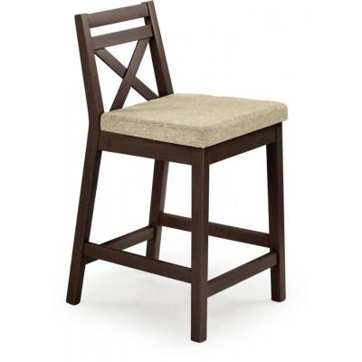 Borys krzesło barowe tapicerowane niskie ciemny orzech Halmar