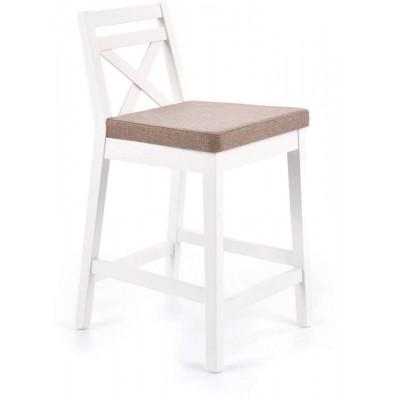 Borys niskie krzesło barowe białe tapicerowane Halmar