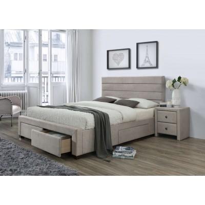 Kayleon 160 łóżko tapicerowane z szufladami beżowe Halmar