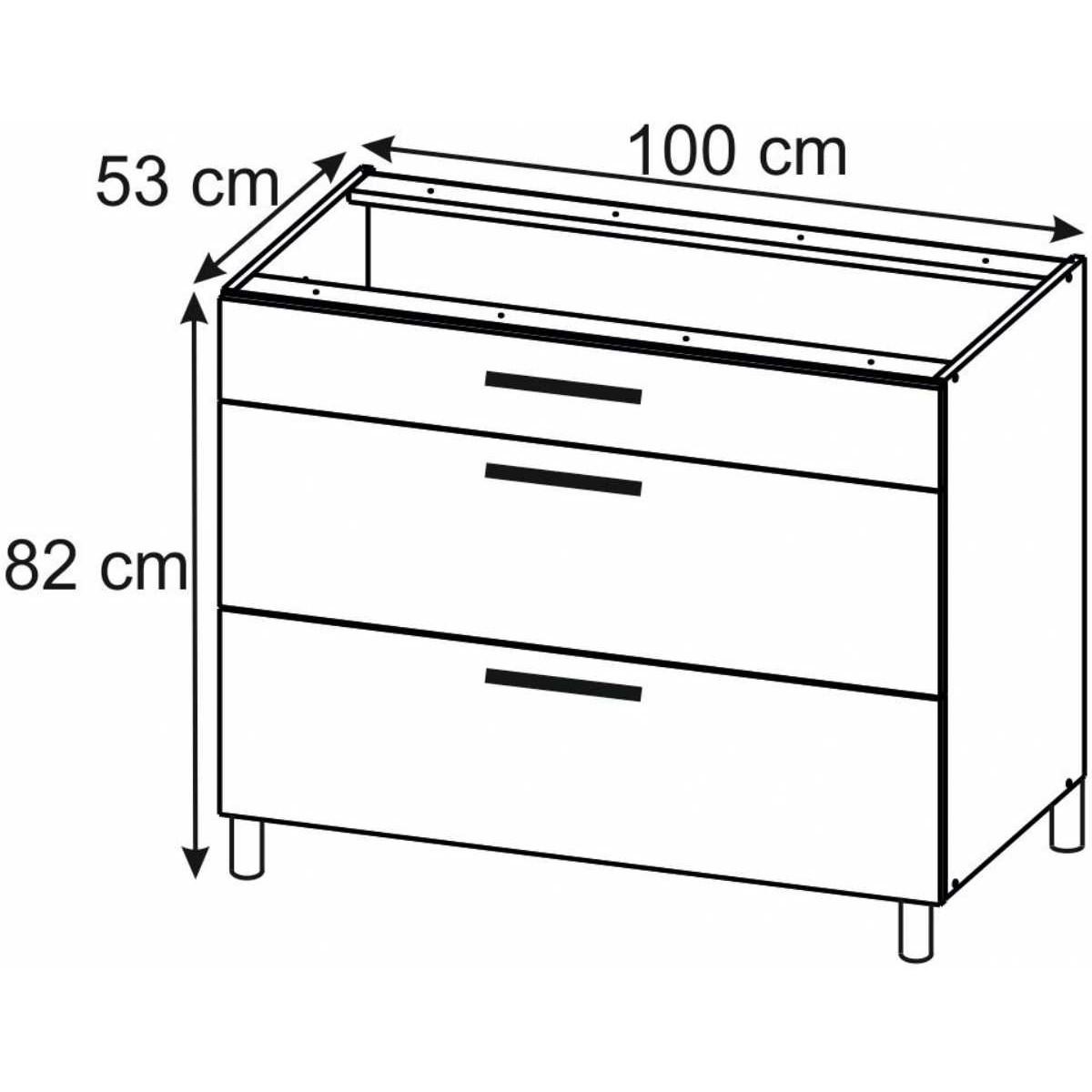 Bella Graphite Super Mat PSZ 100/3 Szafka stojąca z drzwiami