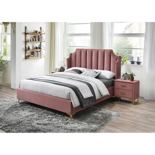 Łóżko Monako velvet 160 ant. róż bluvel 52
