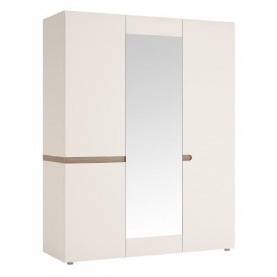 Szafa 3-drzwiowa do sypialni Biały połysk Linate typ 22