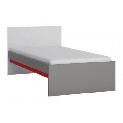Łóżko do pokoju młodzieżowego szary platynowy, czarna perła / biała alpejska Laser 90cm LASZ01 Meble Wójcik
