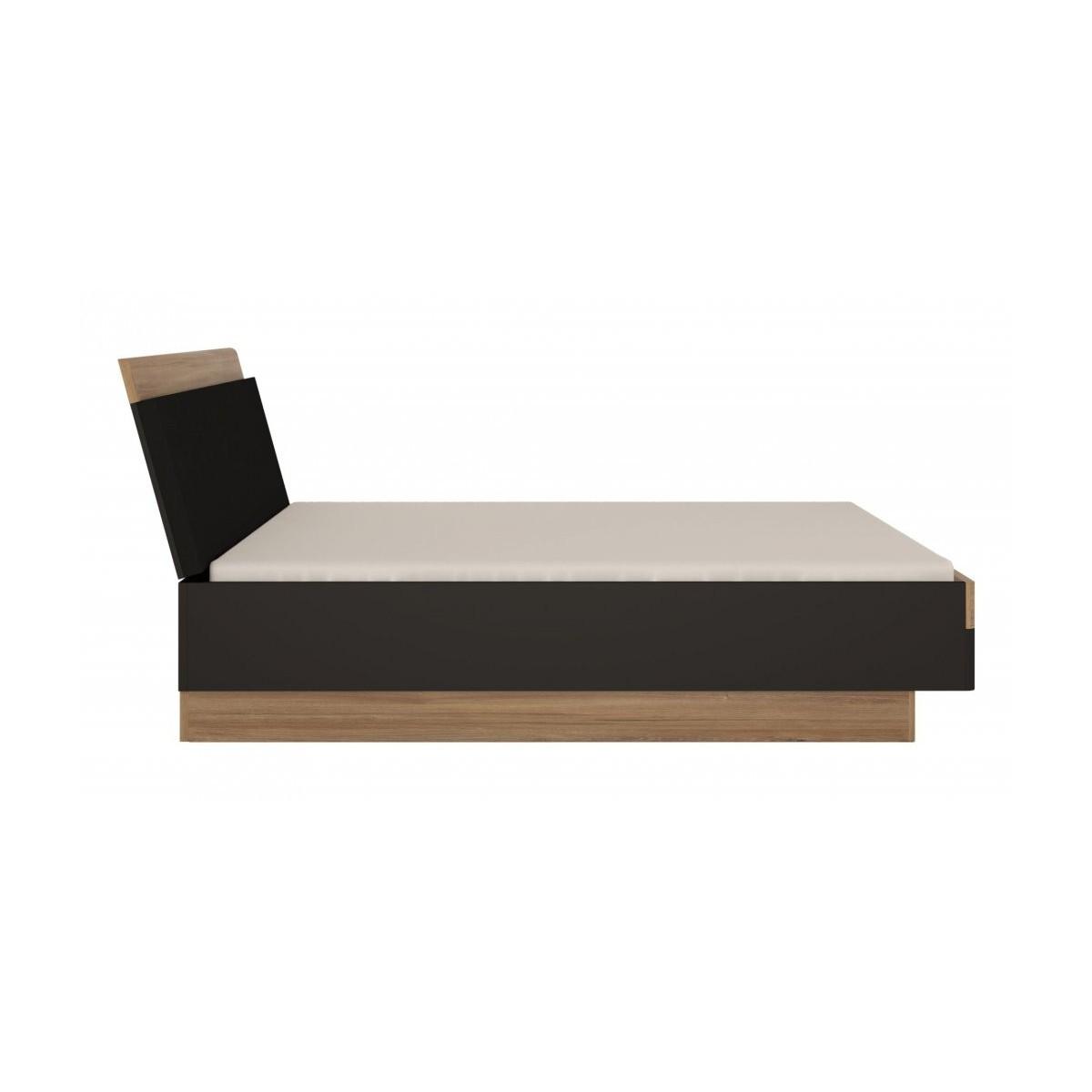 Łóżko 160 cm Dąb Stirling / Czarny Mat Monaco MOAL02