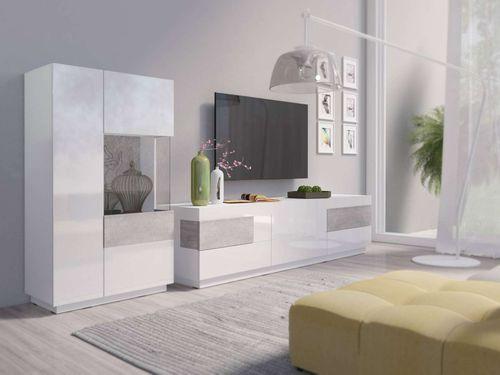 Silke (biały połysk / beton colorado) Meble do salonu i pokoju dziennego